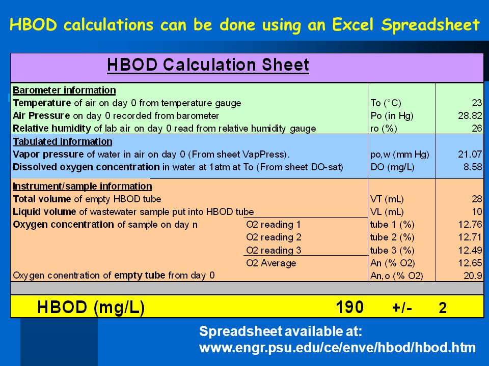 HBOD calculations can be done using an Excel Spreadsheet Spreadsheet available at: www.engr.psu.edu/ce/enve/hbod/hbod.htm
