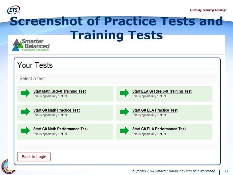 California 2014 Smarter Balanced Field Test Workshop 30 Screenshot of Practice Tests and Training Tests