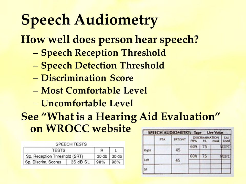 Speech Audiometry How well does person hear speech.
