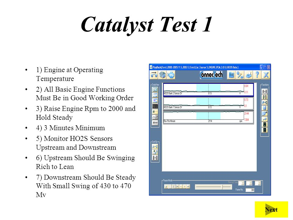 Catalyst Test 1 1) Engine at Operating Temperature 2) All Basic Engine Functions Must Be in Good Working Order 3) Raise Engine Rpm to 2000 and Hold St