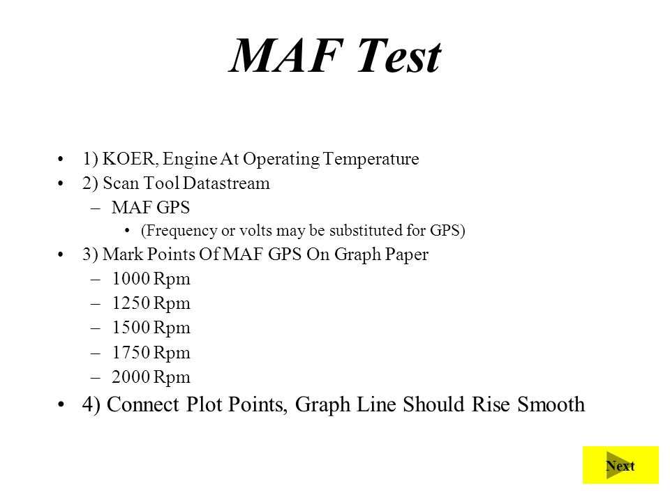 MAF Test 1) KOER, Engine At Operating Temperature 2) Scan Tool Datastream –MAF GPS (Frequency or volts may be substituted for GPS) 3) Mark Points Of M