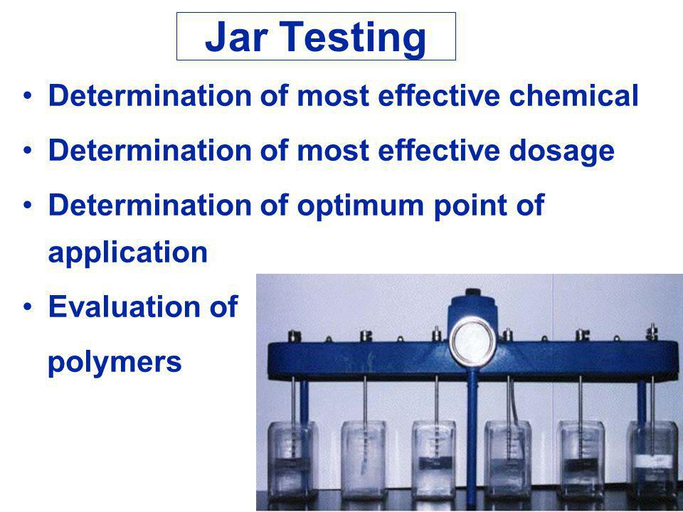 Jar Testing Determination of most effective chemical Determination of most effective dosage Determination of optimum point of application Evaluation of polymers