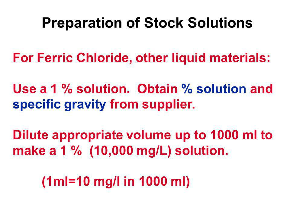 For Ferric Chloride, other liquid materials: Use a 1 % solution.
