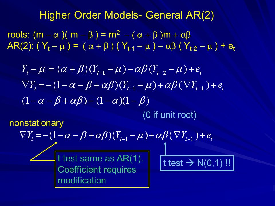 Higher Order Models- General AR(2) roots: (m )( m ) = m 2 m AR(2): ( Y t ) = ( Y t-1 ) ( Y t-2 ) + e t nonstationary (0 if unit root) t test same as A