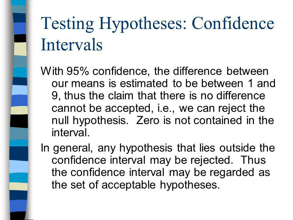 Testing Hypotheses: Confidence Intervals With 95% confidence, the difference between our means is estimated to be between 1 and 9, thus the claim that there is no difference cannot be accepted, i.e., we can reject the null hypothesis.