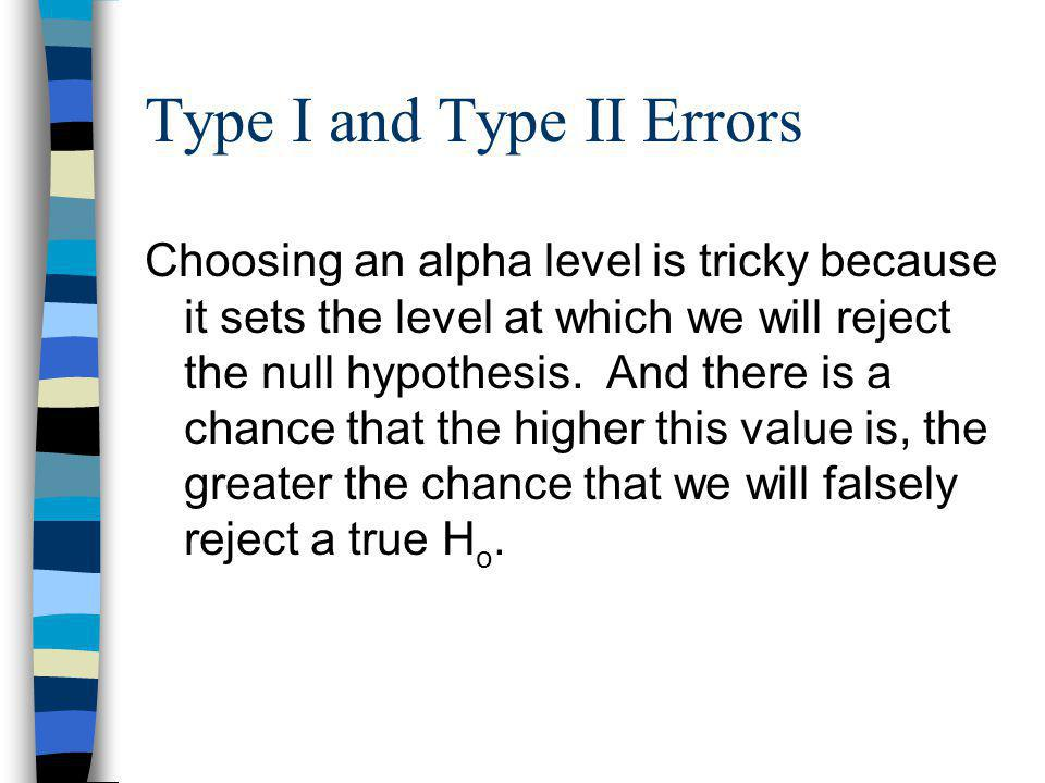 Type I and Type II Errors Choosing an alpha level is tricky because it sets the level at which we will reject the null hypothesis.
