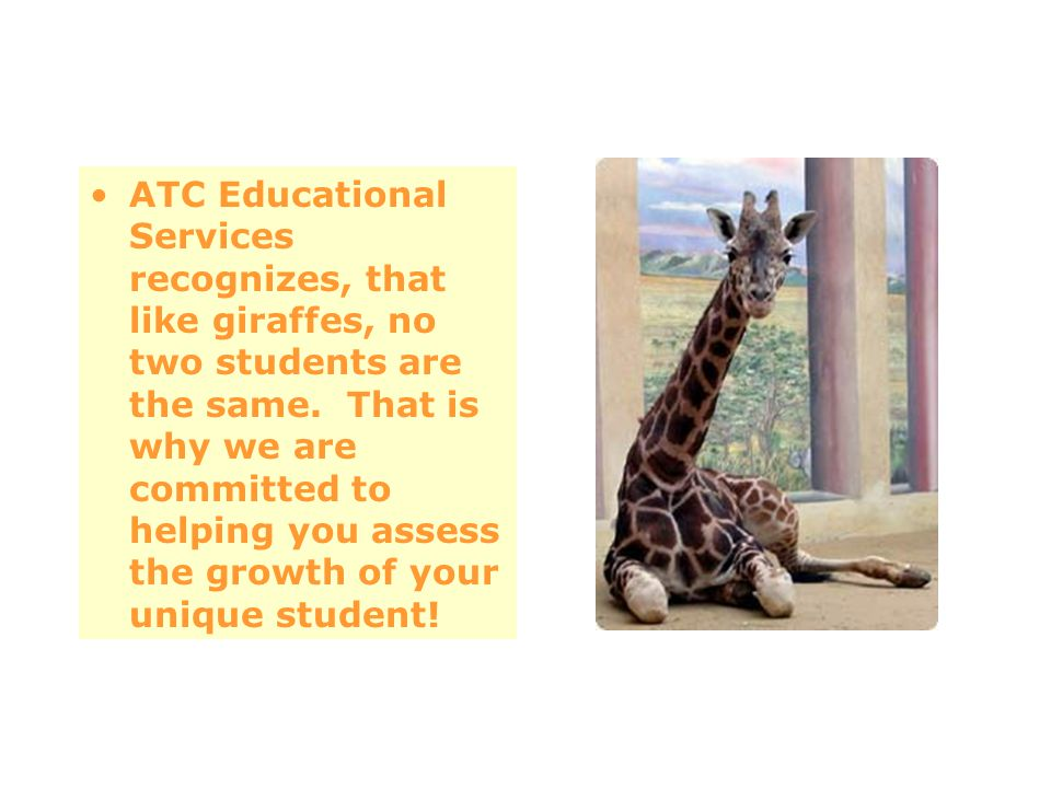 ATC Educational Services recognizes, that like giraffes, no two students are the same. That is why we are committed to helping you assess the growth o