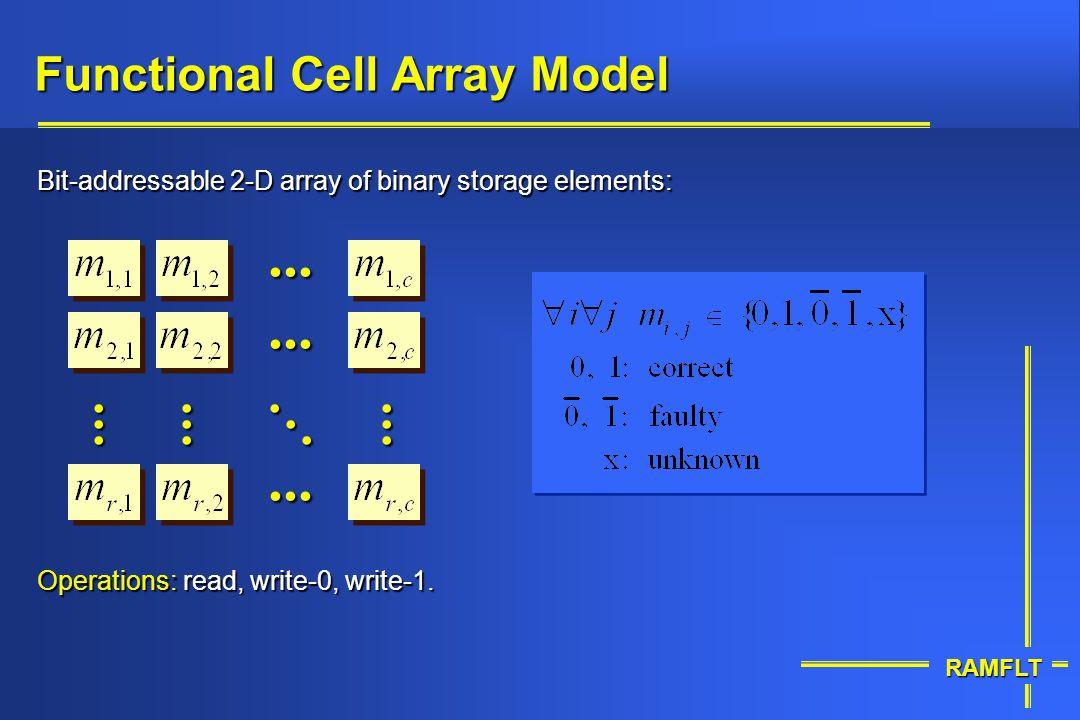 RAMFLT Functional Cell Array Model Bit-addressable 2-D array of binary storage elements:..................... Operations: read, write-0, write-1.
