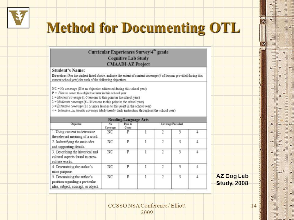 CCSSO NSA Conference / Elliott 2009 14 Method for Documenting OTL AZ Cog Lab Study, 2008