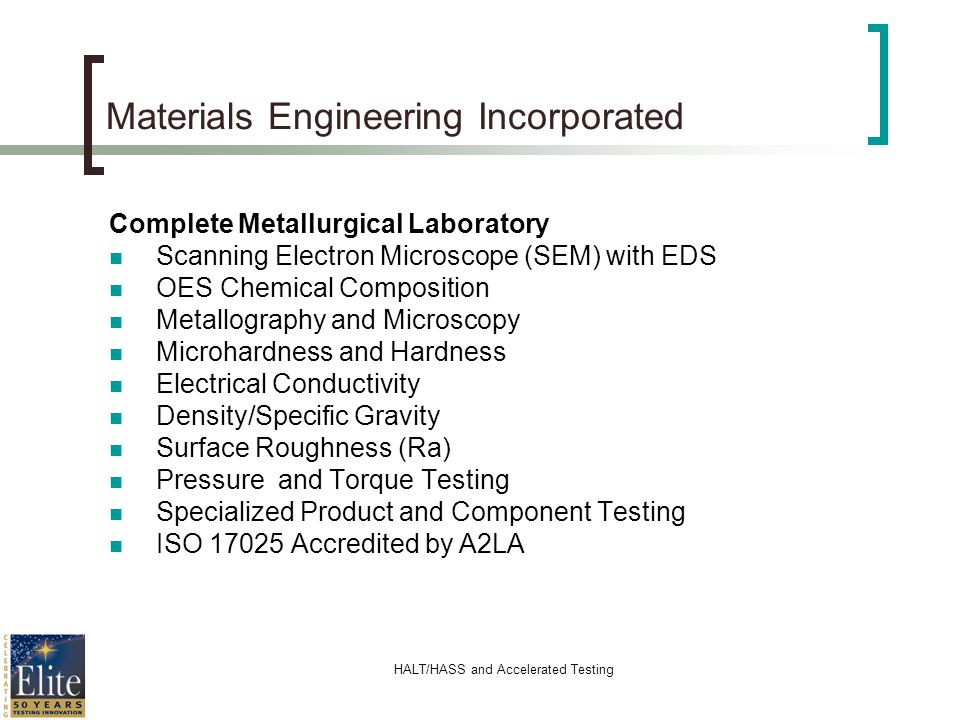 HALT/HASS and Accelerated Testing Materials Engineering Incorporated Complete Metallurgical Laboratory Scanning Electron Microscope (SEM) with EDS OES