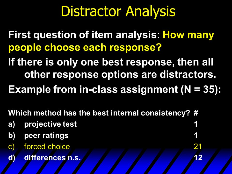 Distractor Analysis (contd) A perfect test item would have 2 characteristics: 1.