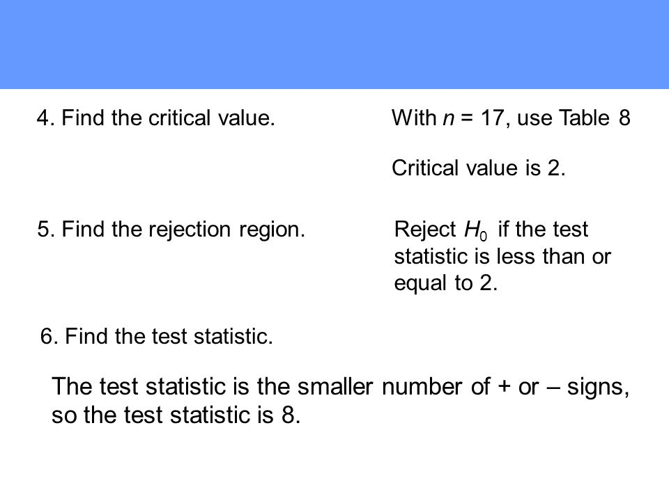 6. Find the test statistic. 5. Find the rejection region. 4. Find the critical value.With n = 17, use Table 8 Critical value is 2. Reject H 0 if the t
