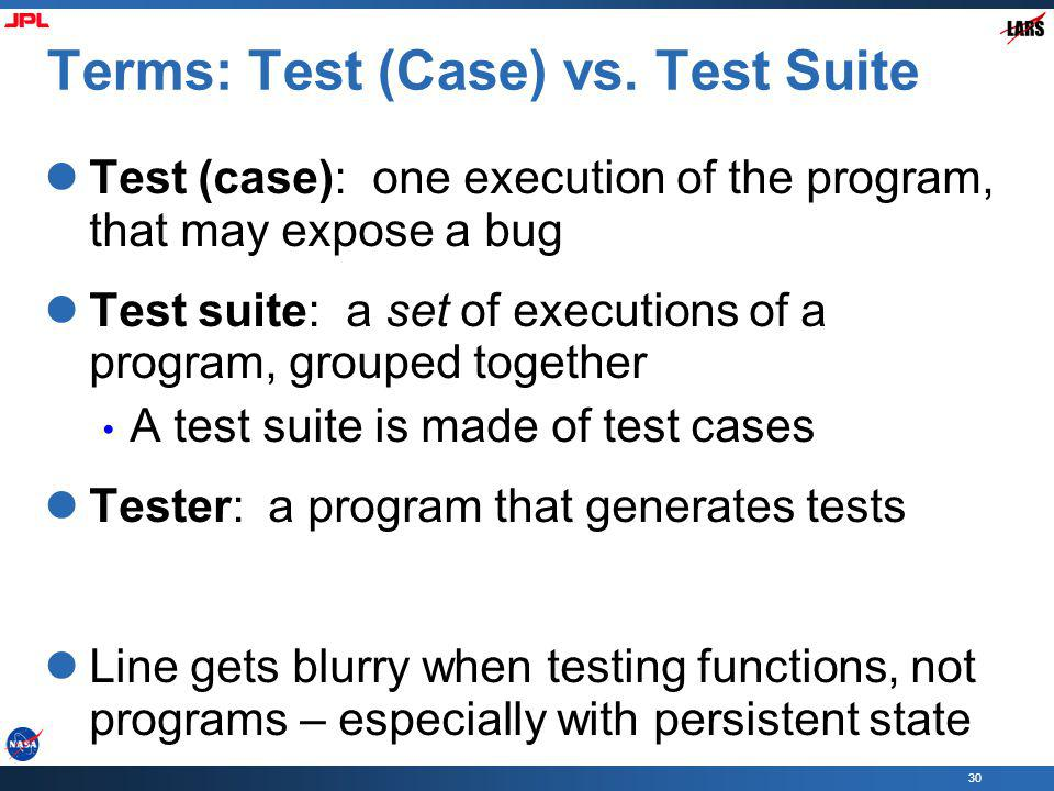 30 Terms: Test (Case) vs.