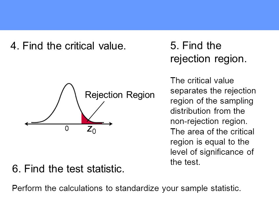 6. Find the test statistic. 5. Find the rejection region.