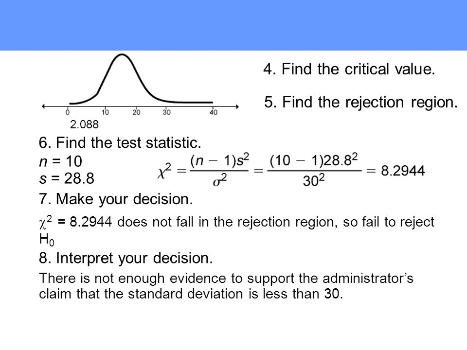 7. Make your decision. 6. Find the test statistic.