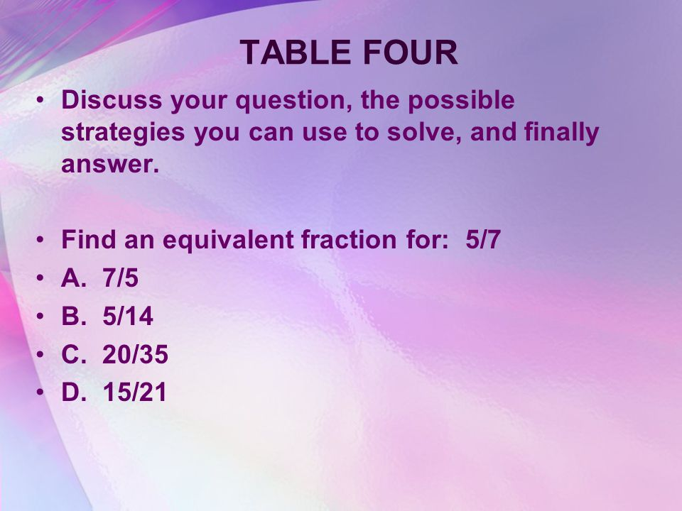 TABLE 4 1/2 Discuss your question, the strategies you can use, and finally answer.