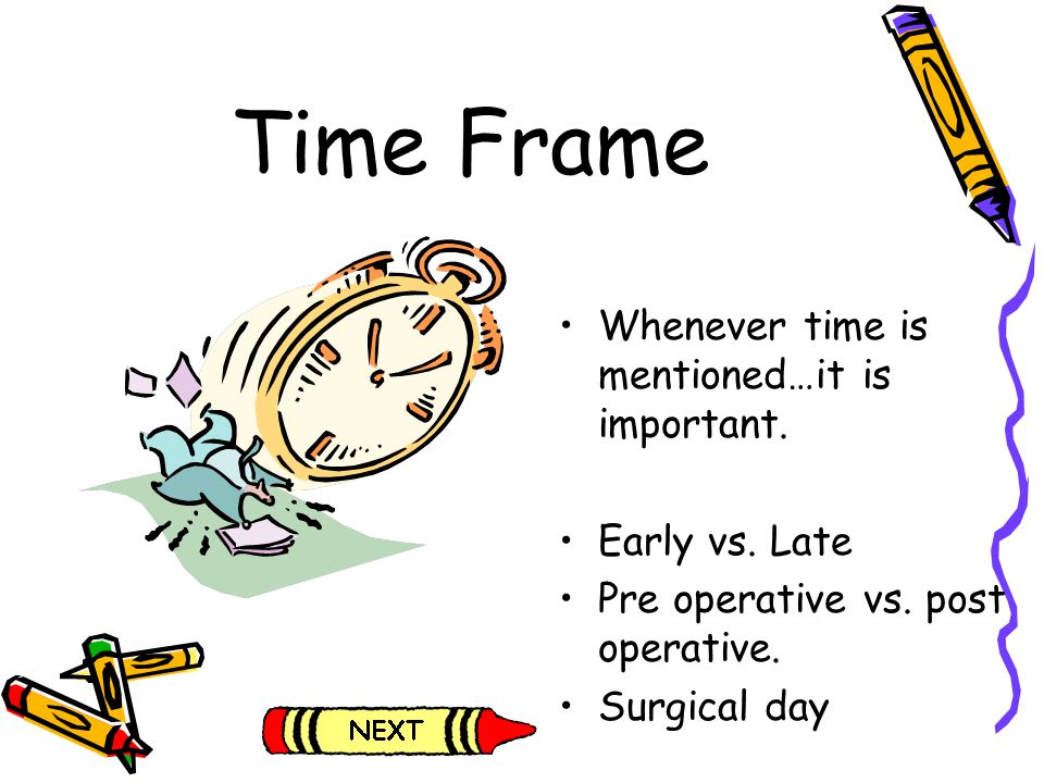 Time Frame Whenever time is mentioned…it is important. Early vs. Late Pre operative vs. post operative. Surgical day