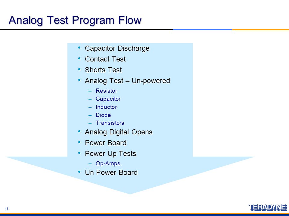6 6 Analog Test Program Flow Capacitor Discharge Contact Test Shorts Test Analog Test – Un-powered –Resistor –Capacitor –Inductor –Diode –Transistors