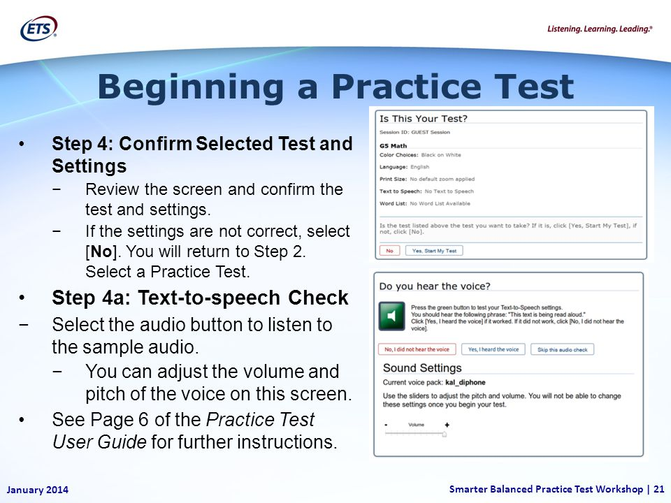 Step 4: Confirm Selected Test and Settings Review the screen and confirm the test and settings.