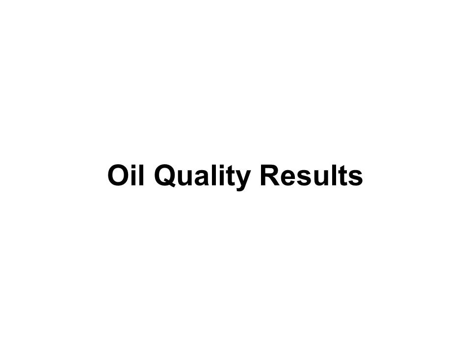 Oil Quality Results
