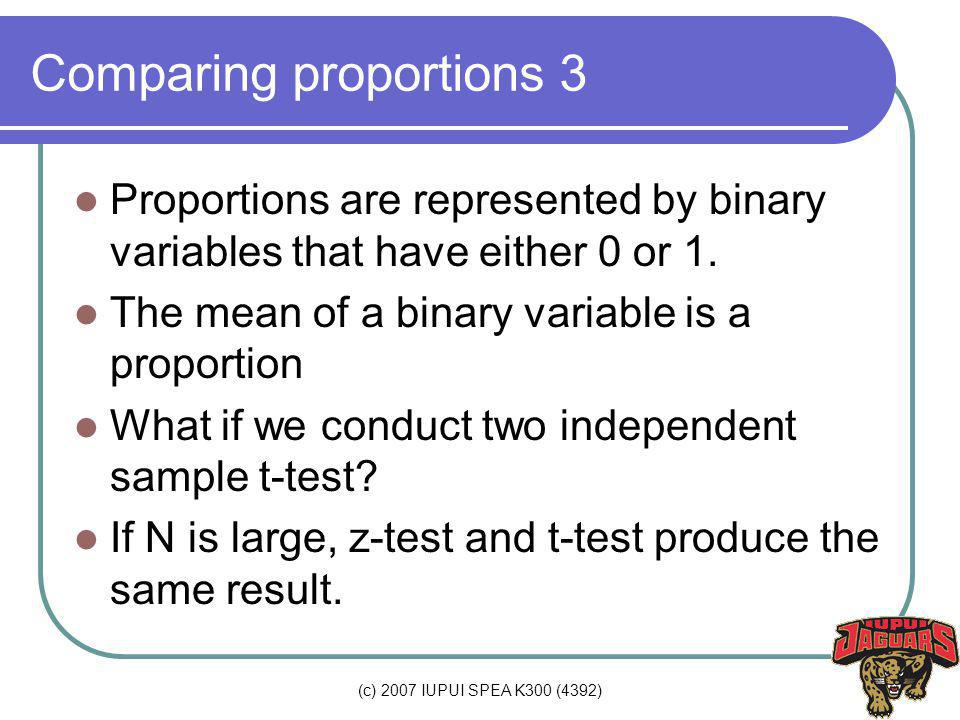 (c) 2007 IUPUI SPEA K300 (4392) Comparing proportions 3 Proportions are represented by binary variables that have either 0 or 1.