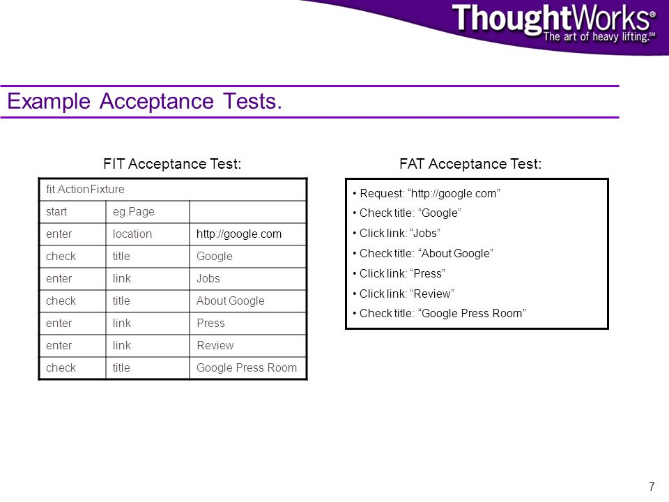 7 Example Acceptance Tests.