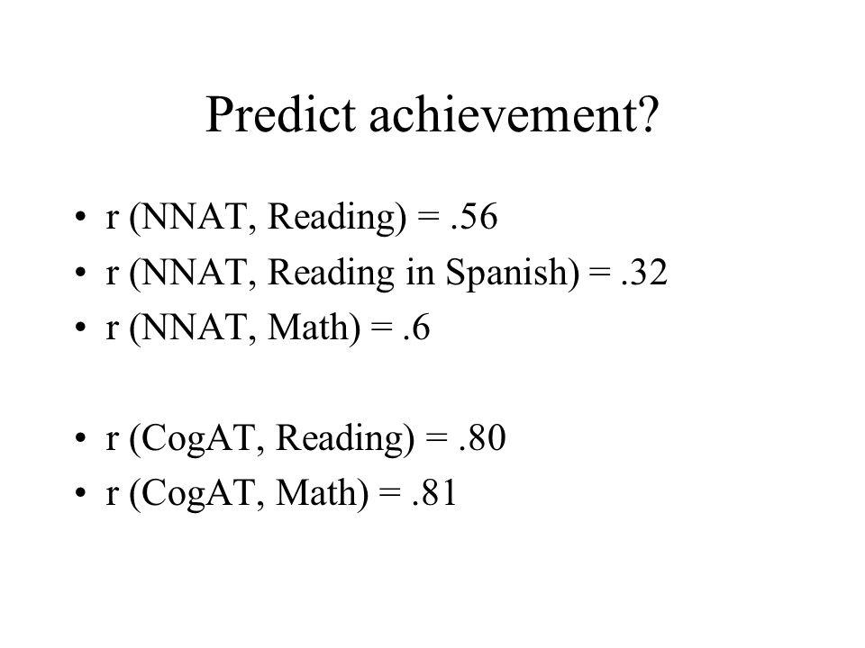Predict achievement? r (NNAT, Reading) =.56 r (NNAT, Reading in Spanish) =.32 r (NNAT, Math) =.6 r (CogAT, Reading) =.80 r (CogAT, Math) =.81