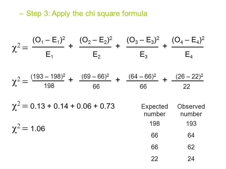 Step 4: Interpret the chi square value –The calculated chi square value can be used to obtain probabilities, or P values, from a chi square table These probabilities allow us to determine the likelihood that the observed deviations are due to random chance alone –Low chi square values indicate a high probability that the observed deviations could be due to random chance alone –High chi square values indicate a low probability that the observed deviations are due to random chance alone –If the chi square value results in a probability that is less than 0.05 (ie: less than 5%) it is considered statistically significant The hypothesis is rejected