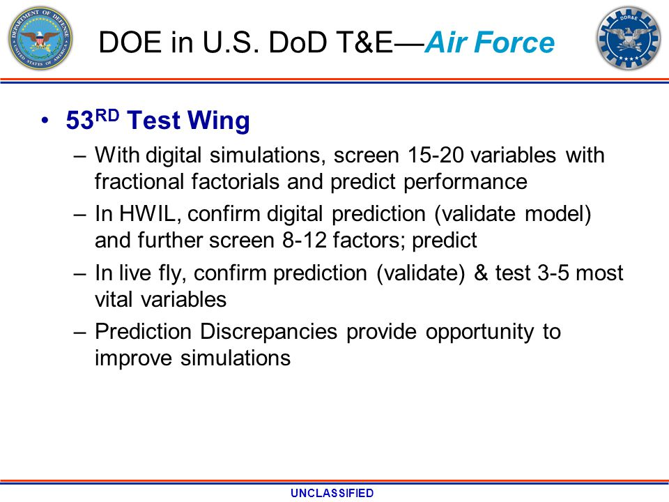 UNCLASSIFIED DOE in U.S. DoD T&EAir Force 53 RD Test Wing –With digital simulations, screen 15-20 variables with fractional factorials and predict per