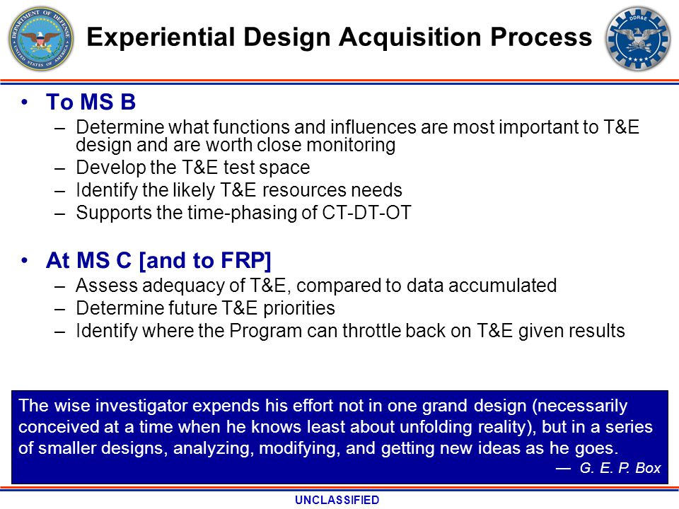 UNCLASSIFIED Experiential Design Acquisition Process To MS B –Determine what functions and influences are most important to T&E design and are worth c