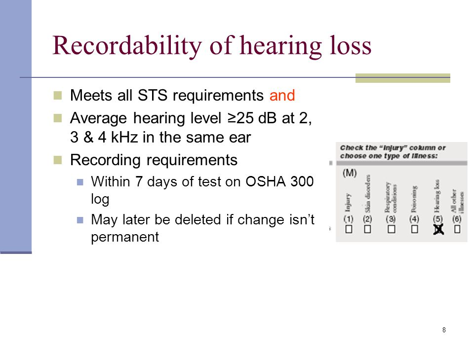 8 Recordability of hearing loss Meets all STS requirements and Average hearing level 25 dB at 2, 3 & 4 kHz in the same ear Recording requirements With