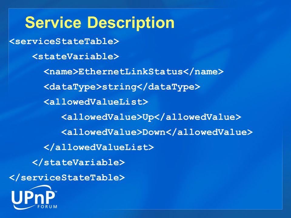 Service Description EthernetLinkStatus string Up Down