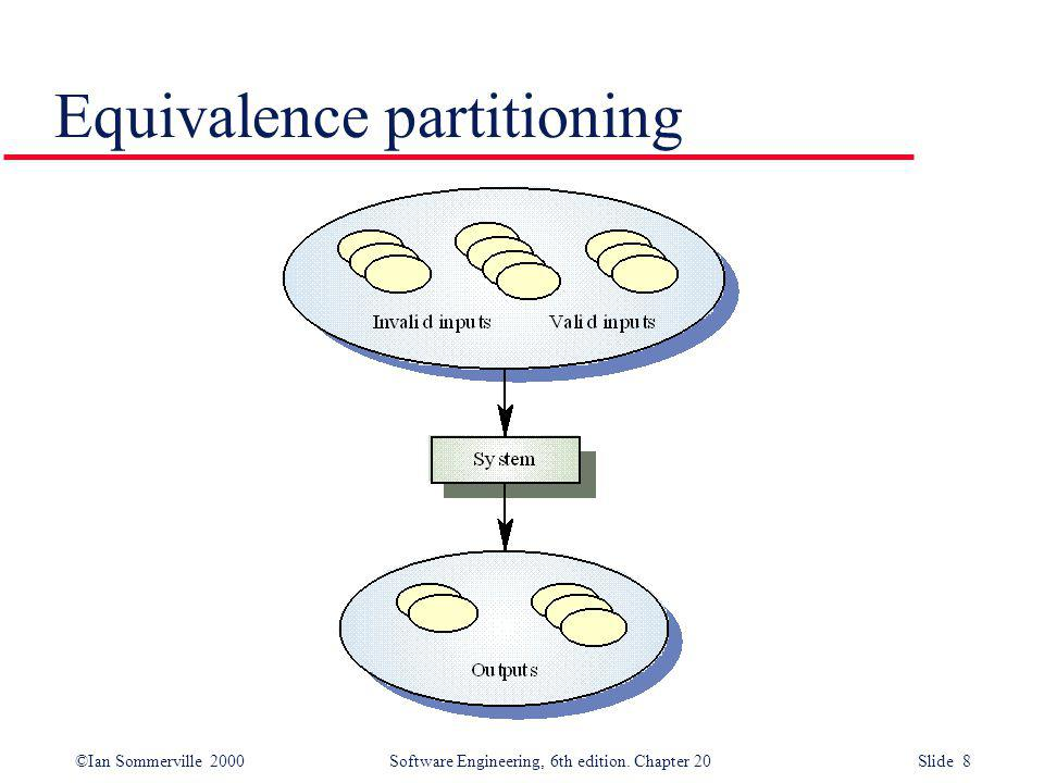 ©Ian Sommerville 2000 Software Engineering, 6th edition. Chapter 20 Slide 8 Equivalence partitioning