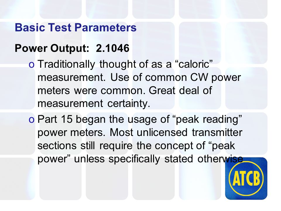 Basic Test Parameters Power Output: 2.1046 oTraditionally thought of as a caloric measurement.