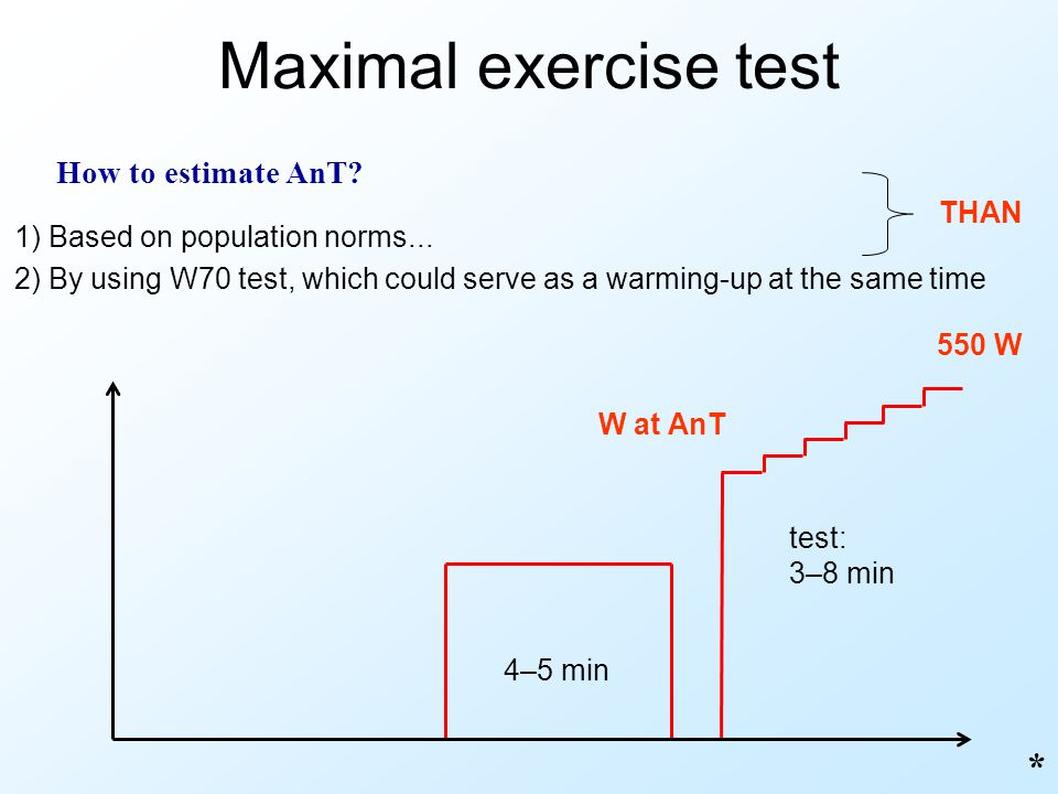 Maximal exercise test * How to estimate AnT? 550 W 1) Based on population norms... 2) By using W70 test, which could serve as a warming-up at the same