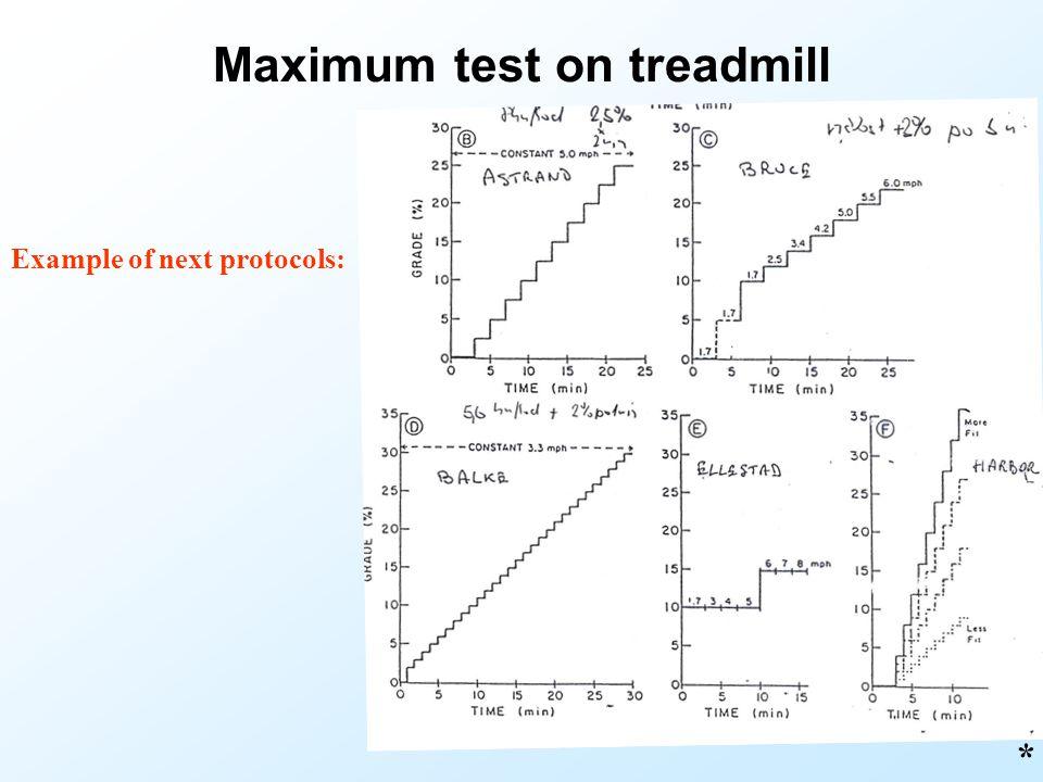 Maximum test on treadmill Example of next protocols: *