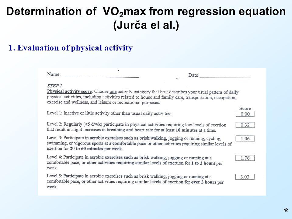 Determination of VO 2 max from regression equation (Jurča el al.) * 1. Evaluation of physical activity