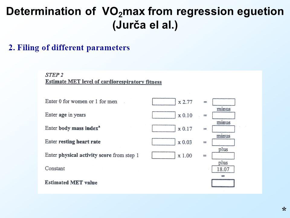 * 2. Filing of different parameters Determination of VO 2 max from regression eguetion (Jurča el al.)