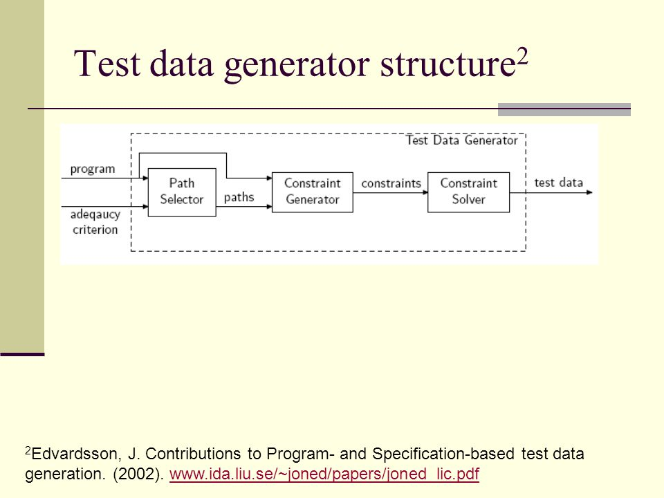 Test data generator structure 2 2 Edvardsson, J. Contributions to Program- and Specification-based test data generation. (2002). www.ida.liu.se/~joned