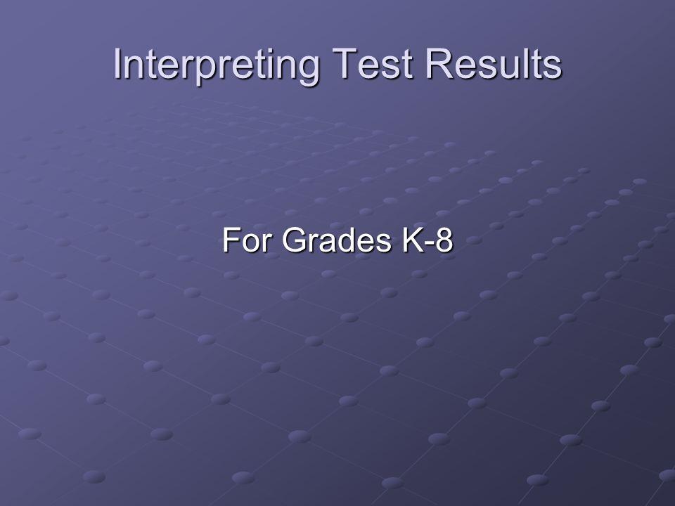Interpreting Test Results For Grades K-8