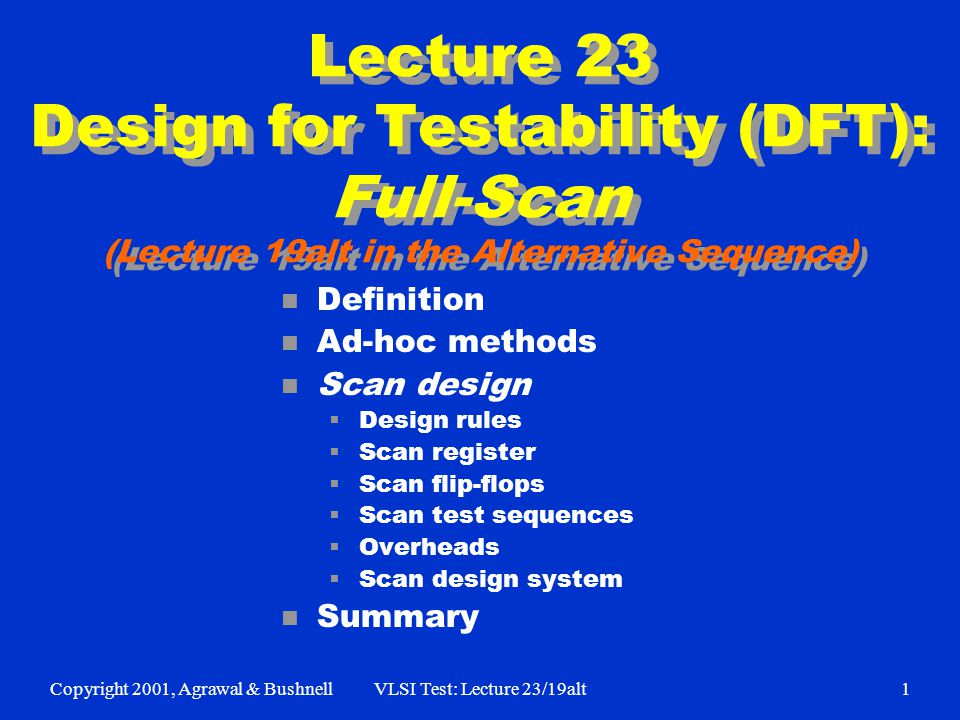 Copyright 2001, Agrawal & BushnellVLSI Test: Lecture 23/19alt1 Lecture 23 Design for Testability (DFT): Full-Scan (Lecture 19alt in the Alternative Sequence) n Definition n Ad-hoc methods n Scan design Design rules Scan register Scan flip-flops Scan test sequences Overheads Scan design system n Summary