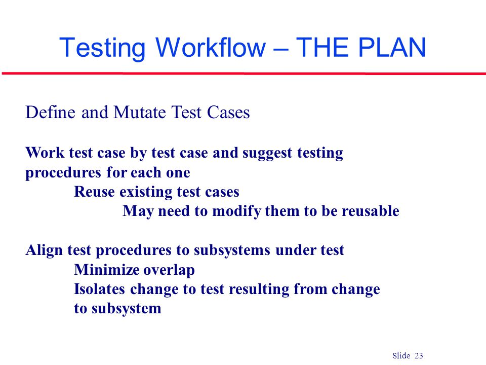Slide 23 Testing Workflow – THE PLAN Define and Mutate Test Cases Work test case by test case and suggest testing procedures for each one Reuse existi