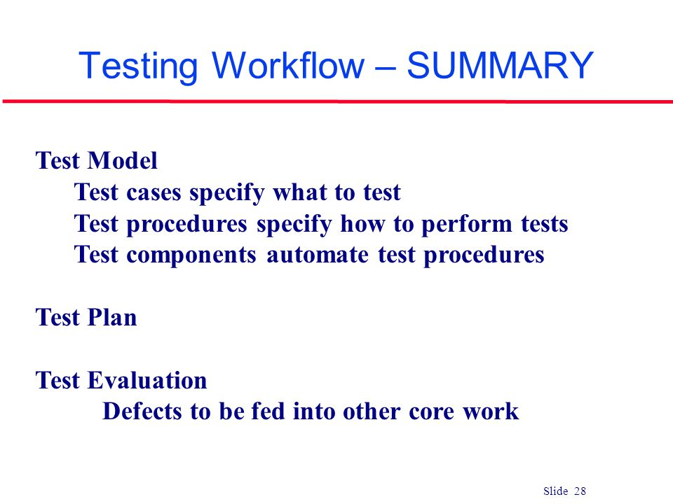 Slide 28 Testing Workflow – SUMMARY Test Model Test cases specify what to test Test procedures specify how to perform tests Test components automate t