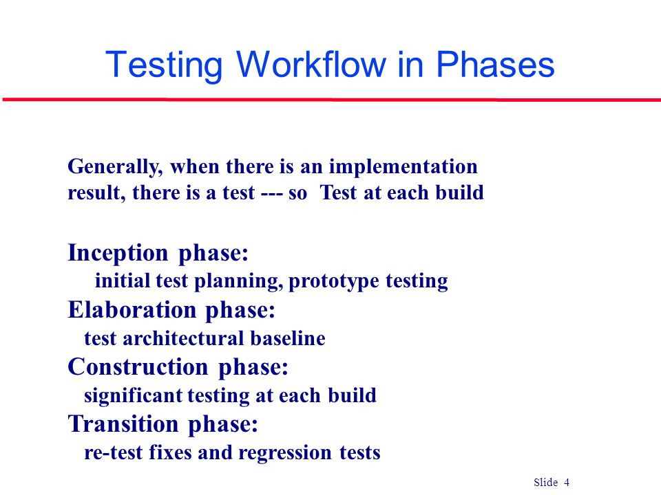 Slide 4 Testing Workflow in Phases Generally, when there is an implementation result, there is a test --- so Test at each build Inception phase: initi