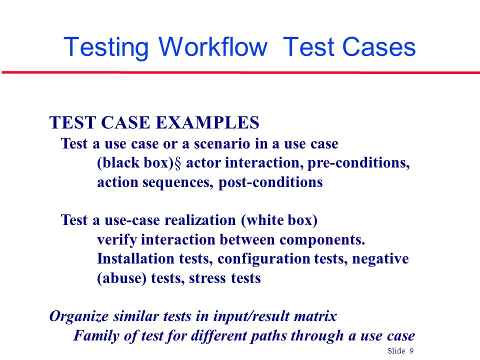 Slide 9 Testing Workflow Test Cases TEST CASE EXAMPLES Test a use case or a scenario in a use case (black box)§ actor interaction, pre-conditions, act
