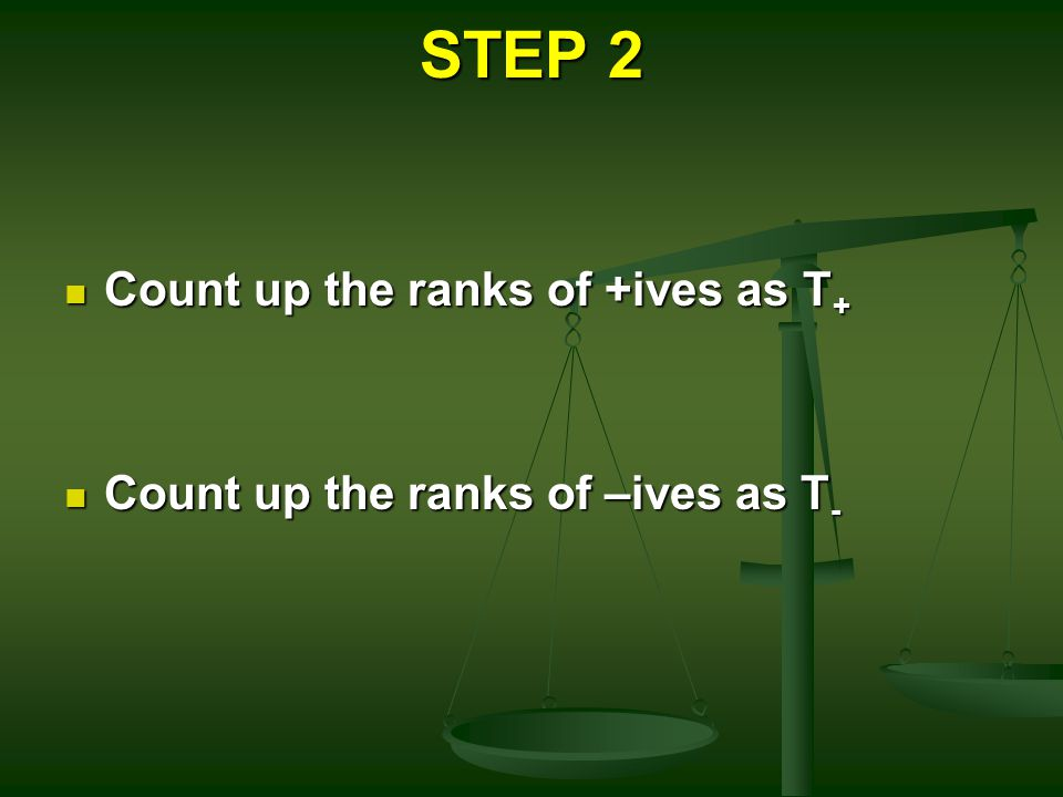 STEP 2 Count up the ranks of +ives as T + Count up the ranks of +ives as T + Count up the ranks of –ives as T - Count up the ranks of –ives as T -