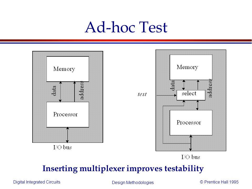 Digital Integrated Circuits© Prentice Hall 1995 Design Methodologies Ad-hoc Test Inserting multiplexer improves testability