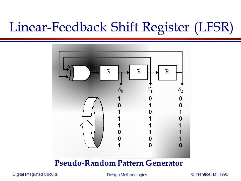 Digital Integrated Circuits© Prentice Hall 1995 Design Methodologies Linear-Feedback Shift Register (LFSR) Pseudo-Random Pattern Generator