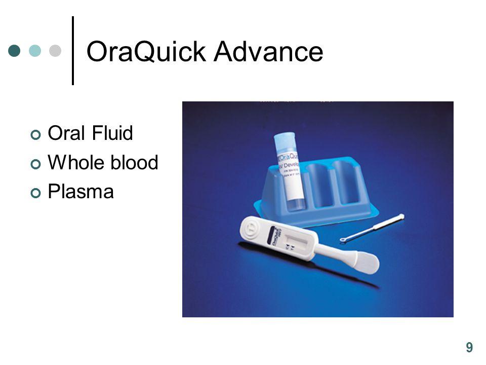 9 OraQuick Advance Oral Fluid Whole blood Plasma