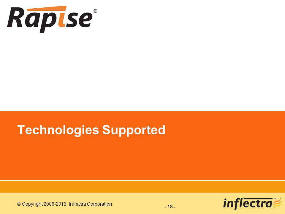 © Copyright 2006-2013, Inflectra Corporation Technologies Supported - 18 -